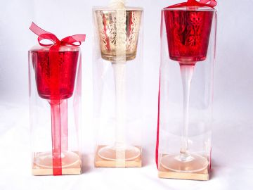 Red Gold Rose Glass Christmas Tea Light Candle Holder Gift Boxed Table Display
